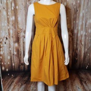 Moschino marigold pleated dress